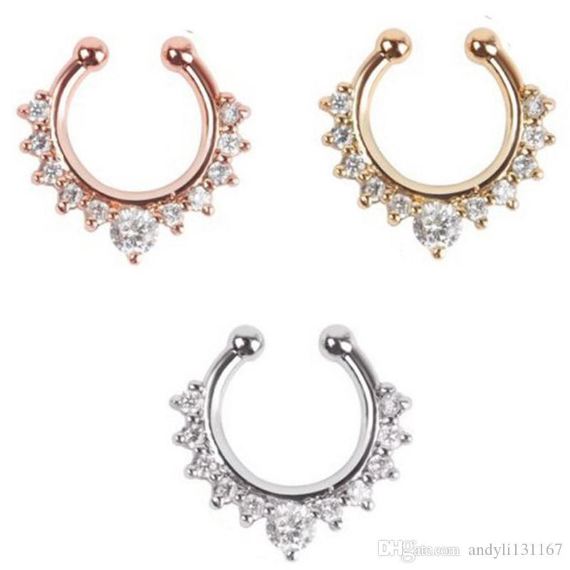 fine jewelry rose gold and silver none piercing fake septum ring crystal nose ring fake piercing N0020