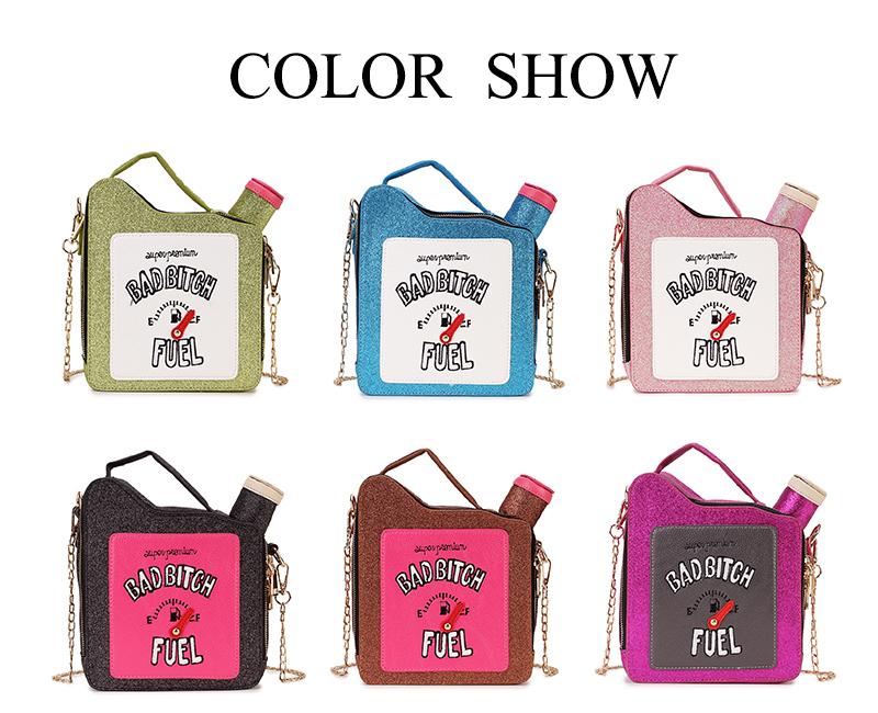 Fashion Fun Personality Embroidery Letters Gasoline Bottle Shape Chain Purse Handbag Shoulder Bag Ladies Purse Mesenger Bag Flap J190517