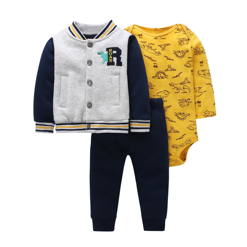 autumn baby boy clothes long sleeve letter embroidery jacket+dinosaur romper+pants clothing set 3pcs baby girl outfit for 6-24m