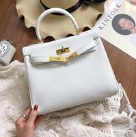 25cm 28cm Brand Women Totes White color Soft Genuine leather...