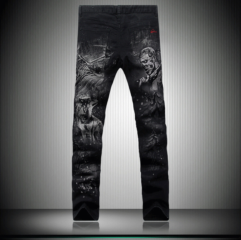 Pop2019 Pattern Printing Jeans Elastic Force Self-cultivation Small Directly Trousers Night Club Korean Men's Wear