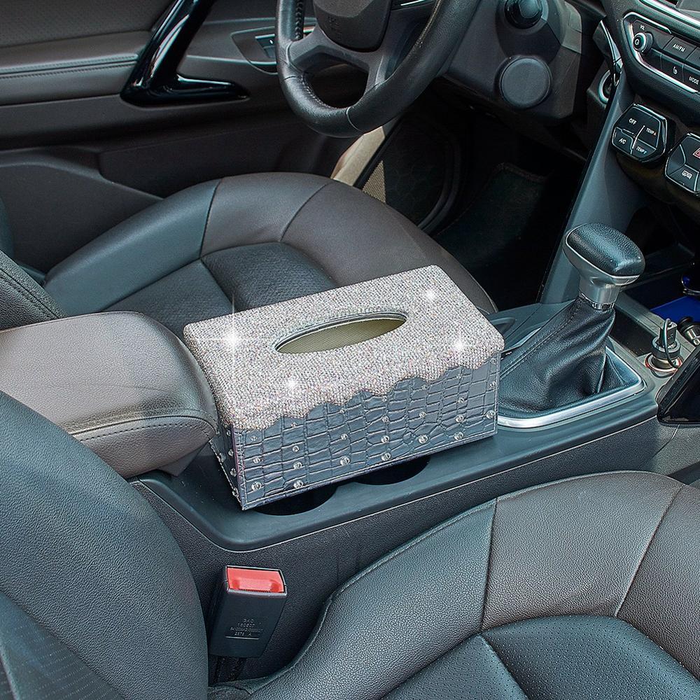 Bandeja de la cubierta del caso de Bling de pa/ñuelos coche de cristal Caja de lujo del cuero de la PU de la caja autom/ática de papel titular for la seguridad del automotor
