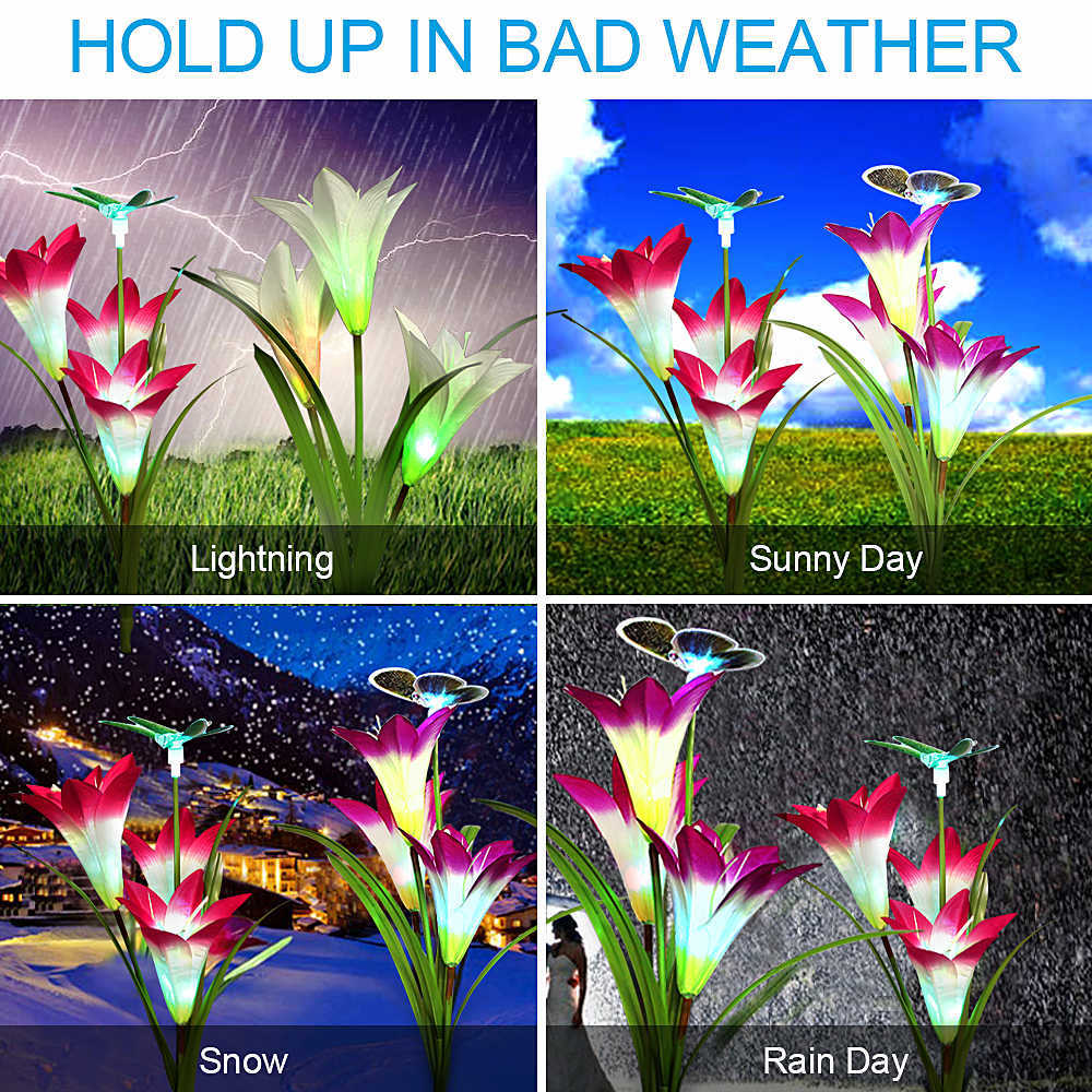 2 Pack Solar LED Fairy Lights Decoration Birthday Wedding Party Christmas Lights Outdoor Waterproof Lily Flower 7 Colours Change (33)
