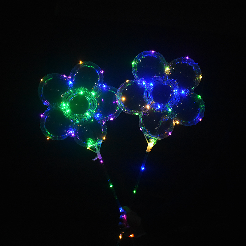 18 inch LED Balloon plum Flower Shape Clear LED BOBO Balls Flash Color Sparkling 5 mode changing LED balloons with stick with handle