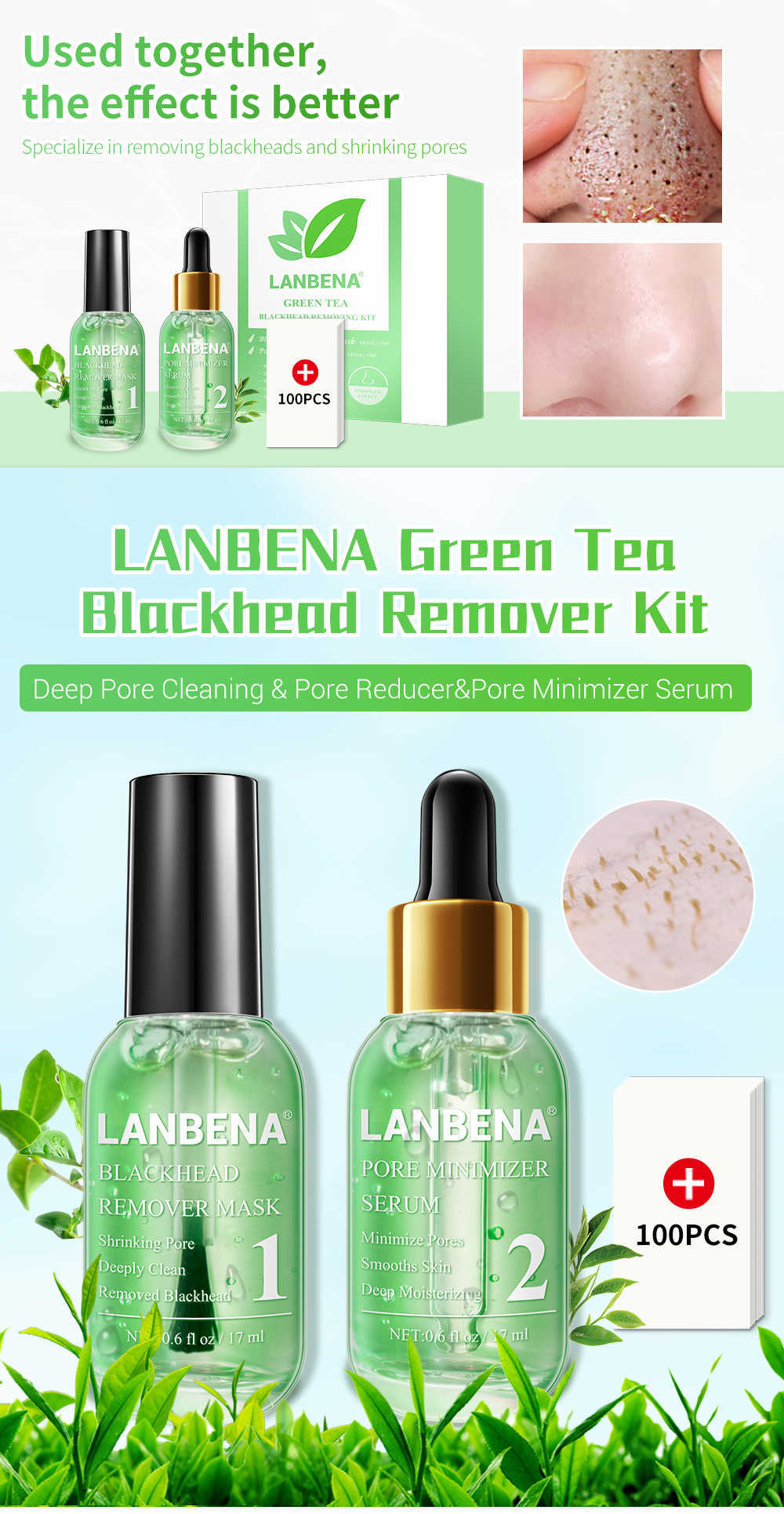 Lanbena Face Serum Blackhead Remover Shrinking Pore Acne Treatment