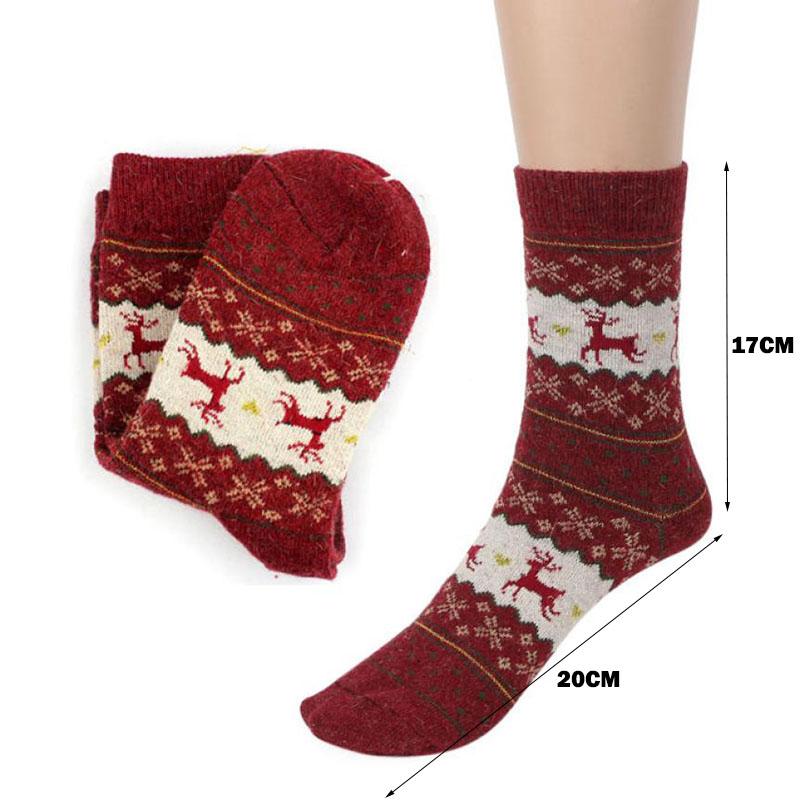 Noël Moose Deer design décontracté laine hiver chaud tricot Femme chaussettes articles de décoration de Noël