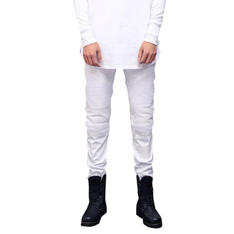 Wenyujh Streetwear Men Ripped Biker Jeans Homme 2018 New Mens Fashion Motorcycle Slim Fit Moto Denim Pants Joggers Skinny Pants Y19060501