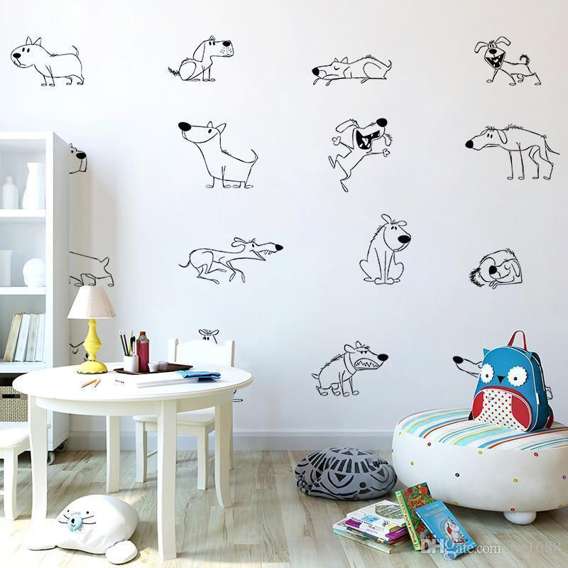 Cachorros Perro Pared Etiqueta Calcomanías de Vinilo Arte Hogar Decoración Dormitorio Hogar impresión Animal