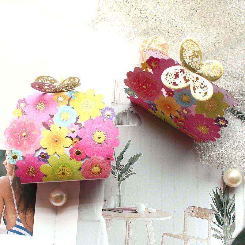 Faveurs De Mariage Cadeaux Boîte Fleur Papillon Laser Élégant De Luxe Décoration Party Event Fournitures Sac De Bonbons En Papier Pour Les Invités J190710