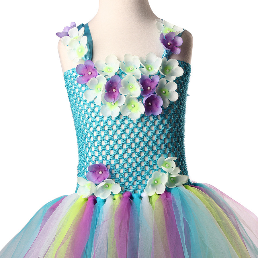 Exquisite Peacock Water Fairy Tutu Dress Girls Birthday Festival Party Pageant Costume Kids Teal Turquoise Purple Ball Gown Dress (4)
