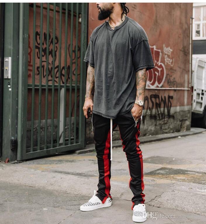Best Version 1:1 FOG Track Pants Fear Of God Men Zipper Pants Side Zipper Casual Sweatpants Men Hiphop Jogger Pants