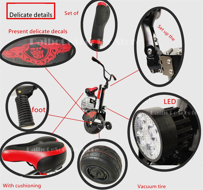Daibot New Electric Unicycle Scooter 60V Self Balancing Scooters Range 30KM45KM Powerful Electric Scooter For AdultsWomen (18)