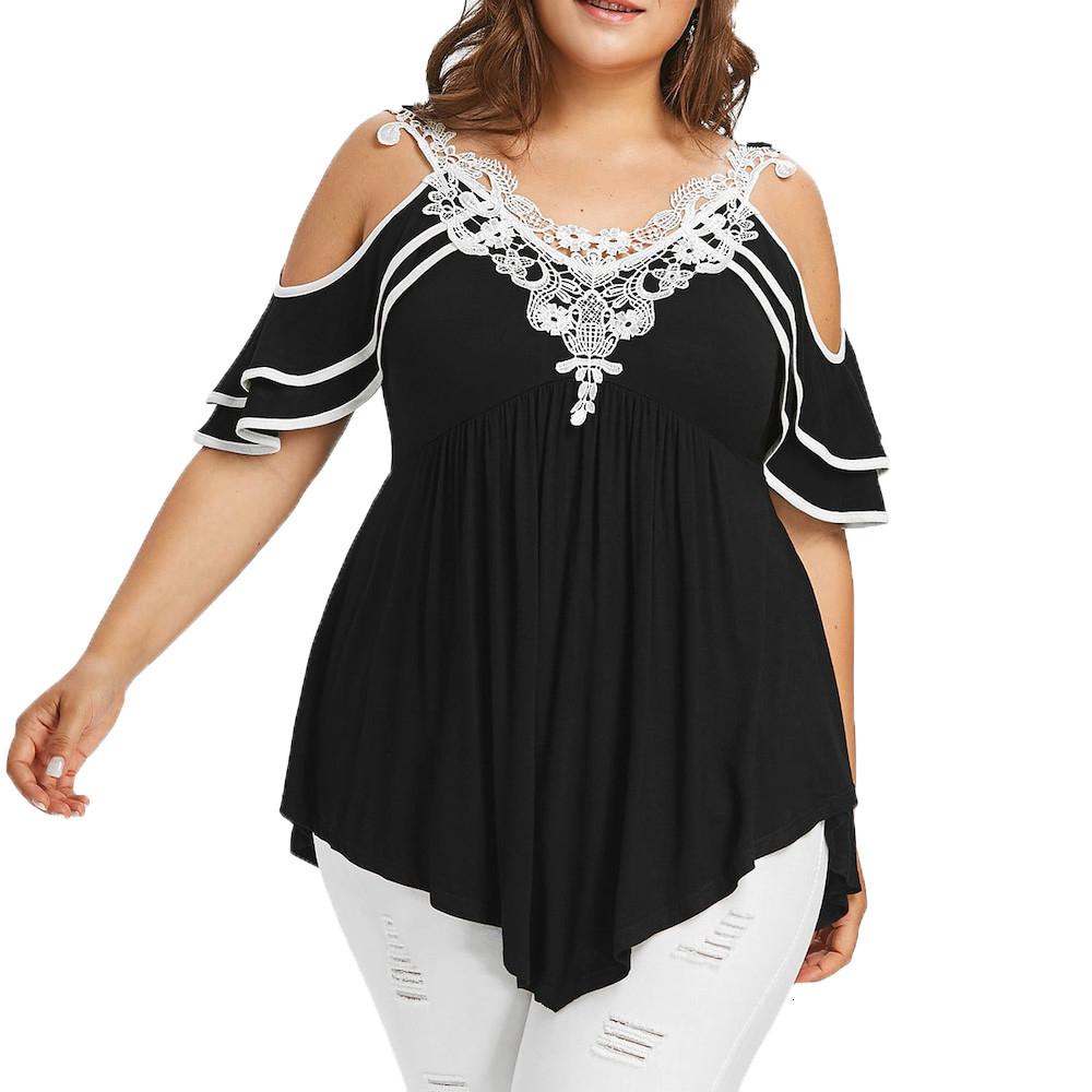 Plus Size Fashion-Frauen-Spitze-Schulter-Kalter Applikationen mit V-Ausschnitt T-Top-Damen-Hemd-beiläufige kurze Hülsen-Sommer-Female Blusa