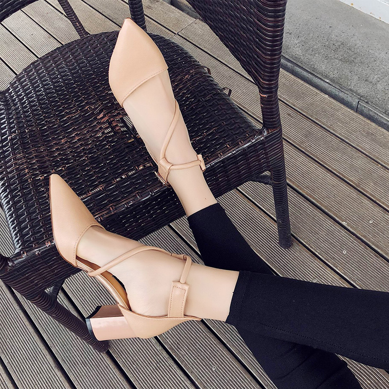 Dress Shoes Thick High Heels Pumps Women Woman Buckle Strap Plus Size Mary Jane Female Pointed Toe Leather Ladies Pumps