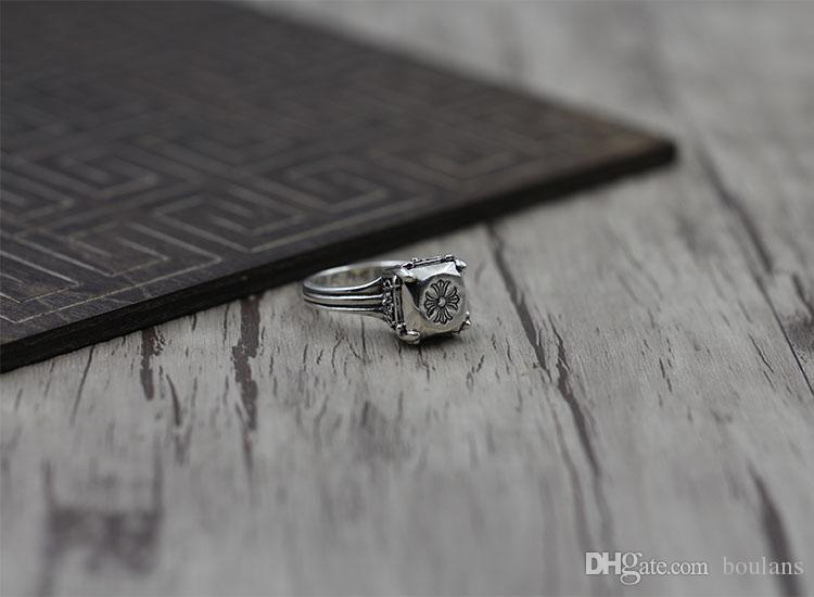 S925 pure silver men's ring personality Do old restoring ancient ways The punk style The cross classic ring Gift to your lover