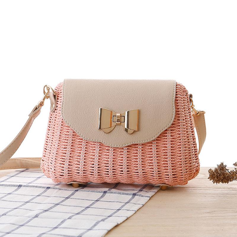 Women Straw Bag Female Bohemian Bali Rattan Beach Shoulder Bag Lady Handmade Candy Color Crossbody Bags Basket Bolsa SS3148 (2)