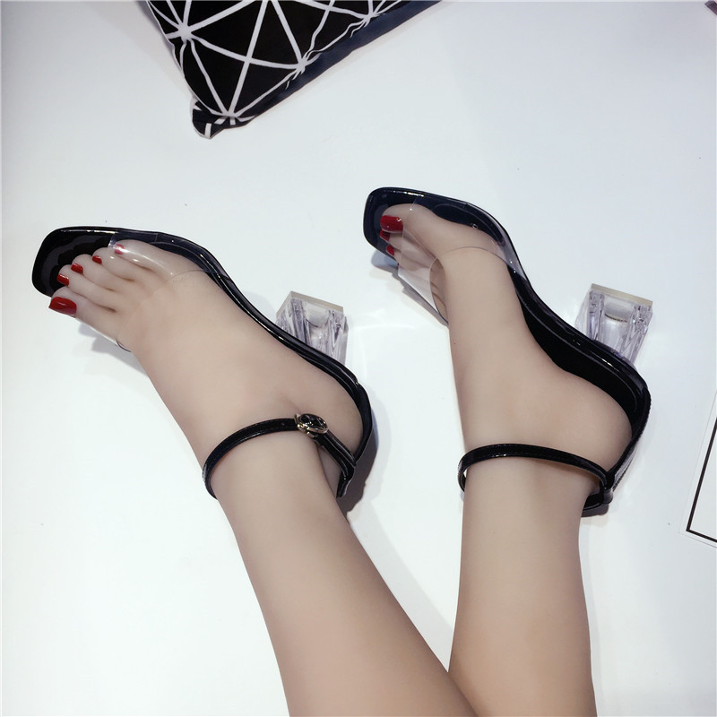 Fancy2019 Mouth Fish Xiatouming Sexy One Coarse Toes Crystal High With Woman Sandals