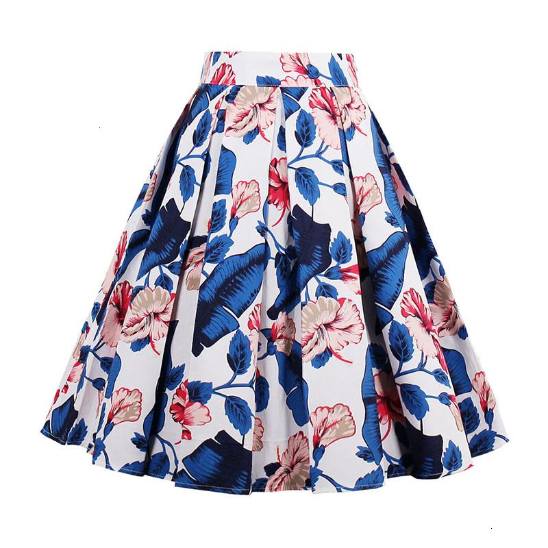 Kostlish Retro Print Flower Summer Skirts Womens High Waist Vintage Skirt Elegant A-Line Midi Women Skirt Plus Size XXL 22 (80)
