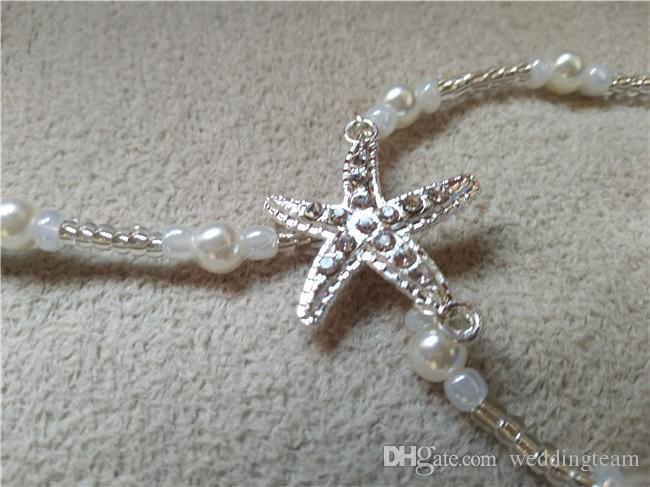 Fashion Pearls Barefoot Beach Sandals For Weddings Crystals Starfish Anklets Chain Cheap Toe Ring Bridal Bridesmaid Foot Jewelry