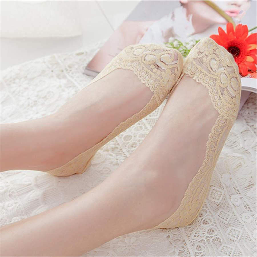 Soft Damen Rutschfeste unsichtbare Liner Baumwolle Blume-Knöchelsocken