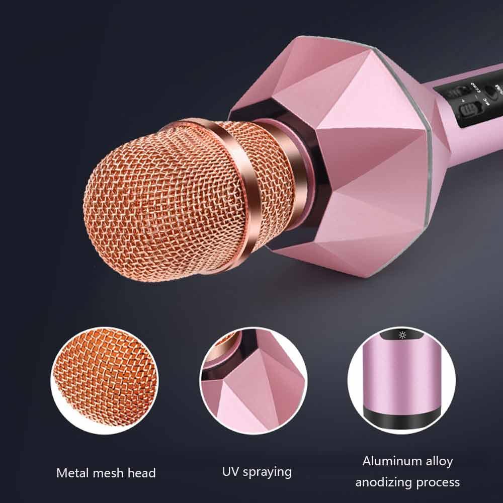 K7 Wireless Bluetooth KTV Speaker Mini Home Mic Microphone Fashion Flash LED Light Handheld Microphone For Mobile Phone Music Player