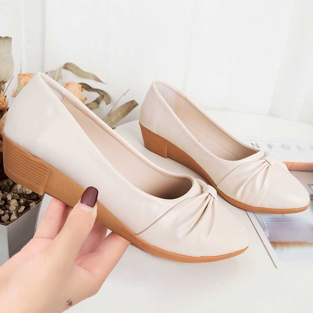 Dress Shoes Fashion Hot Sale Women Casual Bow Peas Ankle Low Heels Lady Pu Leather Moccasins Slip-on Single
