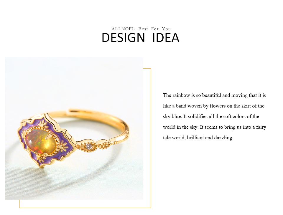 ALLNOEL 925 Sterling Silver Gemstone Rings For Women Vintage Real Natural Fire Opal Enamel Rainbow Ring Wedding Fine Jewelry (11)