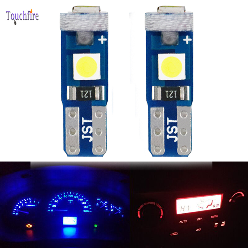 sourcing map 10Pcs Luz Panel de Instrumentos 12V T5 1206 SMD 3 LED Blanco Luz de Tablero Interior