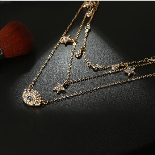 LadyHouse Authentic S925 Pure Silver Ornaments Micro Fashion Beautiful Crown Zircon Clavicle Necklace