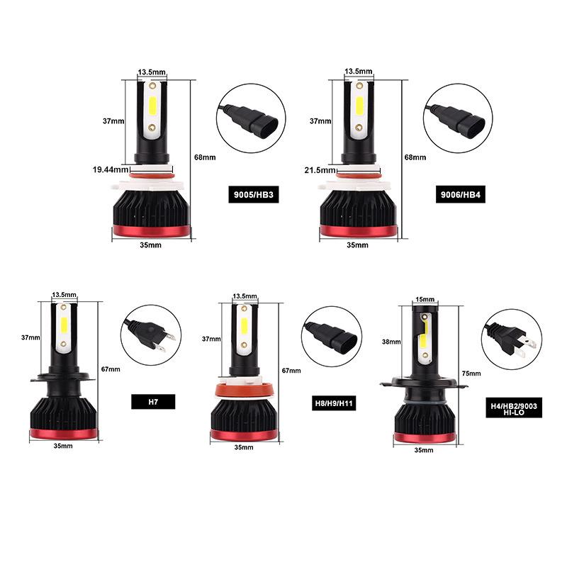 10pairs H7 LED Headlight Bulbs H1 H3 HB3 HB4 H8 H11 Mini Size Car Lights 10000LM 50W 6500K DOB H4 Headlamp Fog Light 12v24v (3)