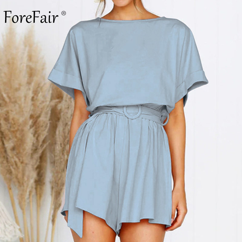 Forefair Linen Shorts Jumpsuit Summer Wide Leg (9)