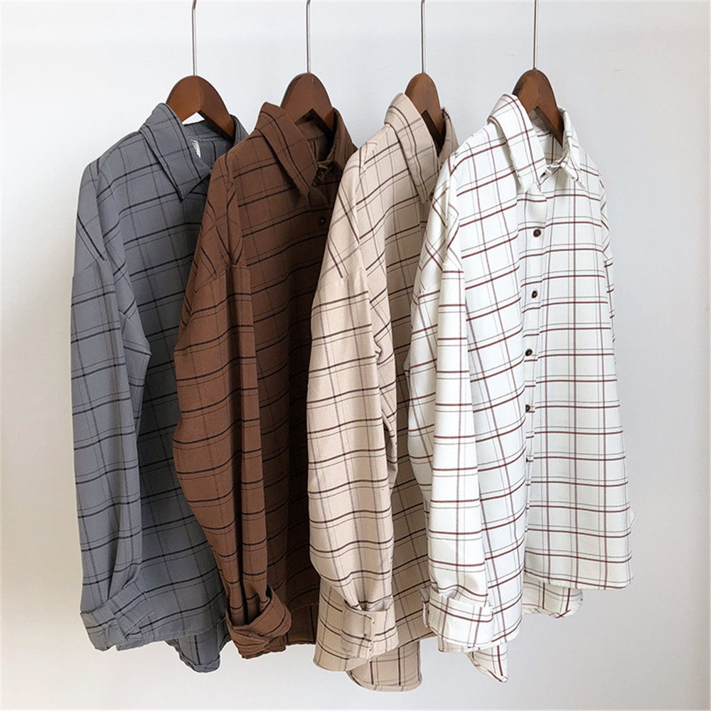 Loose cotton Checkered plaid College blouses shirt Cage female long sleeve Casual women Blouse shirt office lady tops (4)