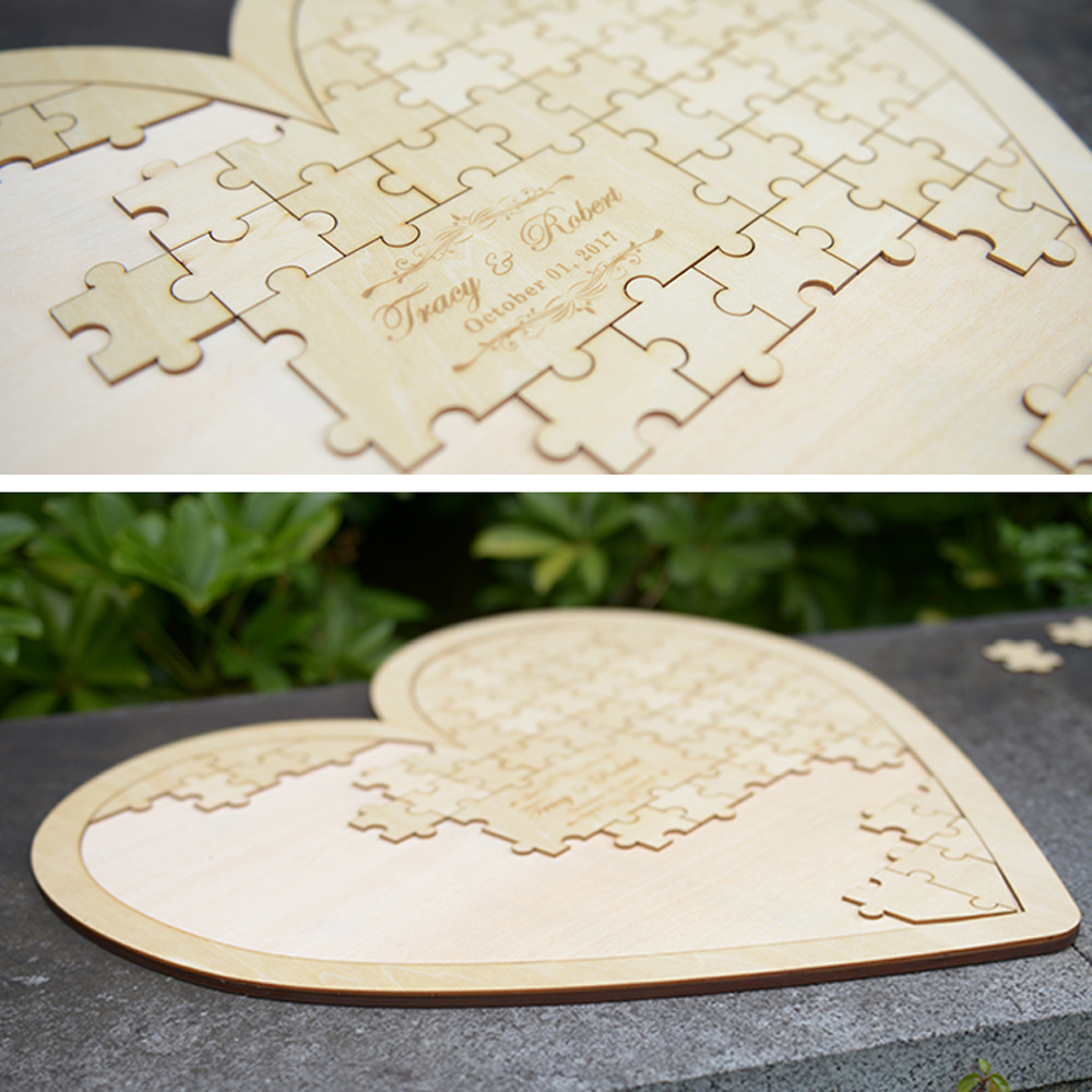 Customs Personalised Puzzle Heart Shaped wedding guestbook alternative hanging heart Puzzle Wedding guest book hearts1