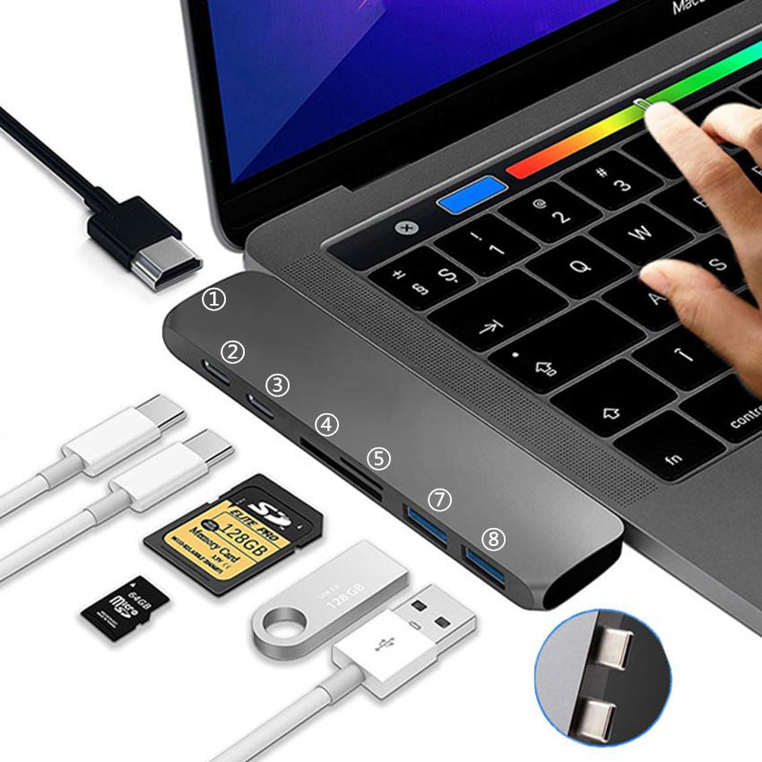Thunderbolt 3 USB C HUB to 4K HMDI//USB3.0//SD//TF for Macbook Pro,Macbook Air 2018