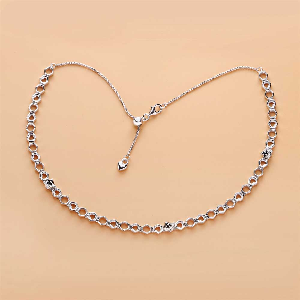 Real 925 Sterling Silver Limited Edition Honeybee Choker Europe Necklace Fit Women Original Charm Bead Gift DIY Jewelry
