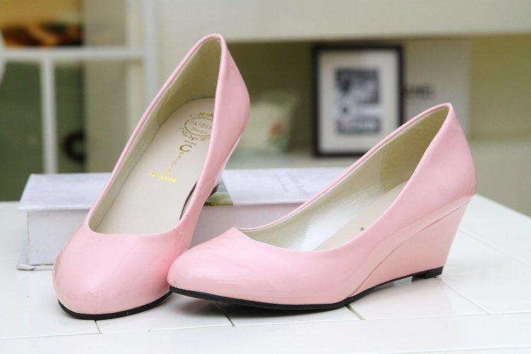 Designer Dress Shoes Women Wedge Heels Pumps Beige High Heels Office Ladies Round Toe Red Pumps Autumn Purple Size 35-40 3070