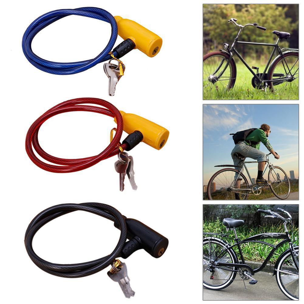 Universal Negro antirrobo Seguridad Bicicleta Bloqueo de Bicicleta Bobina de Cable de Acero Inoxidable para Castillo Motocicleta Bloqueo de Bicicleta con 2 Llaves