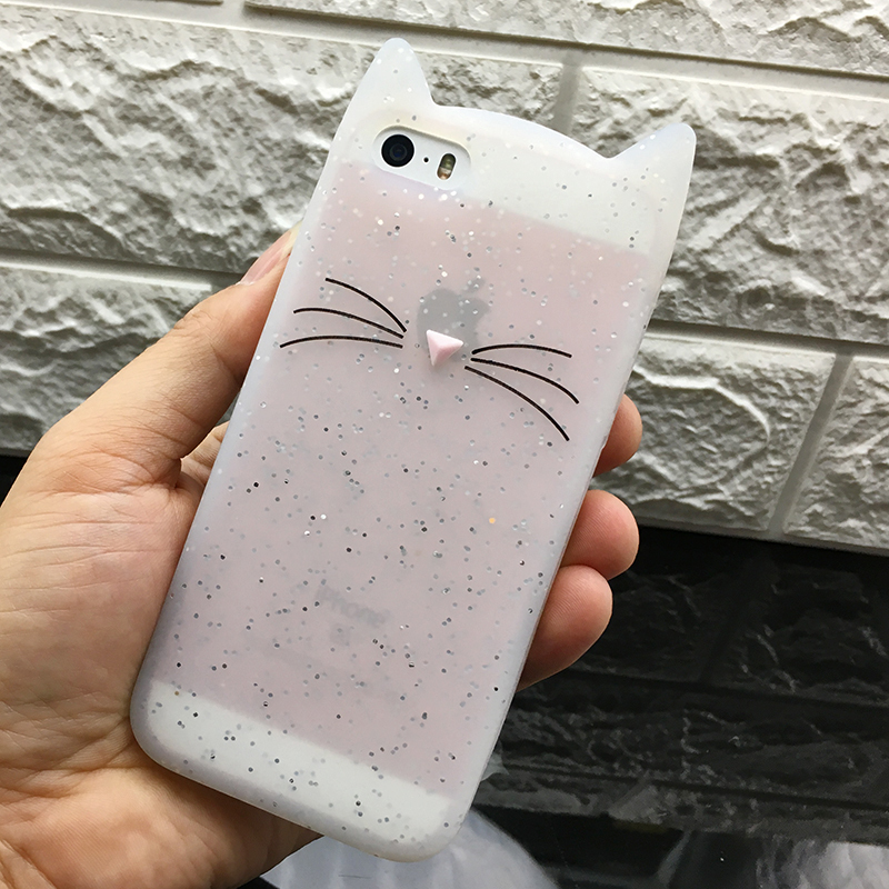 5 S Case Cover For Iphone 5 5S Cute silicone 3D Glitter Soft TPU Cat Phone Cases For apple iphone 5s 5 SE Fundas Coque For Girl (13)
