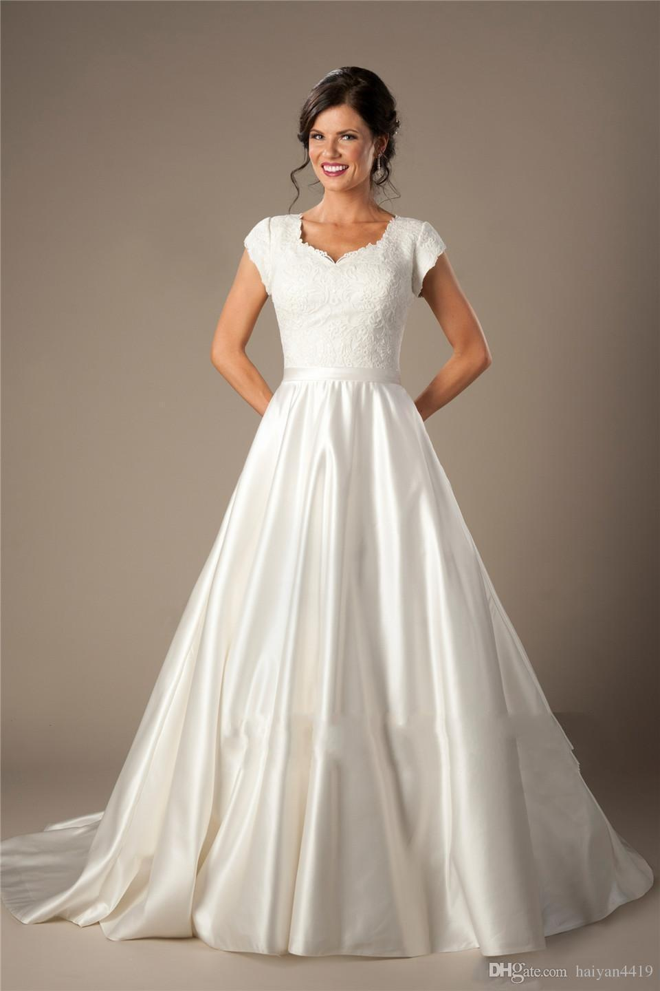 Vintage Modest A Line Wedding Dresses 2018 Sweetheart Cap Sleeves Lace Appliques Satin Buttons Back Sweep Train Simple Bridal Gowns Vestidos