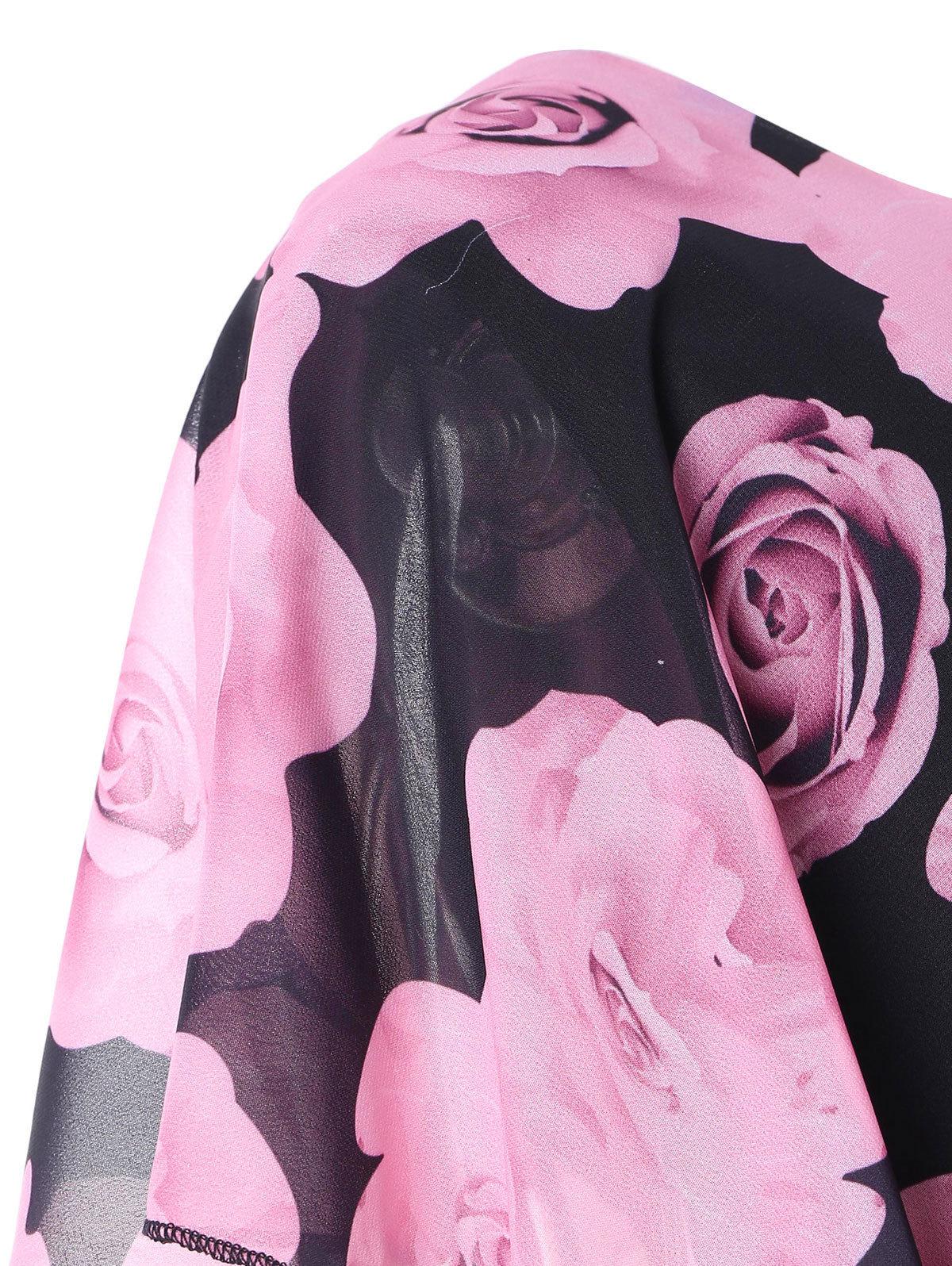 Verão Plus Size 5xl Rose Valentine Overlay Capelet Vestido Roupas Femininas Chiffon Elegante Partido Lápis Vestido Vestidos de roupas de grife