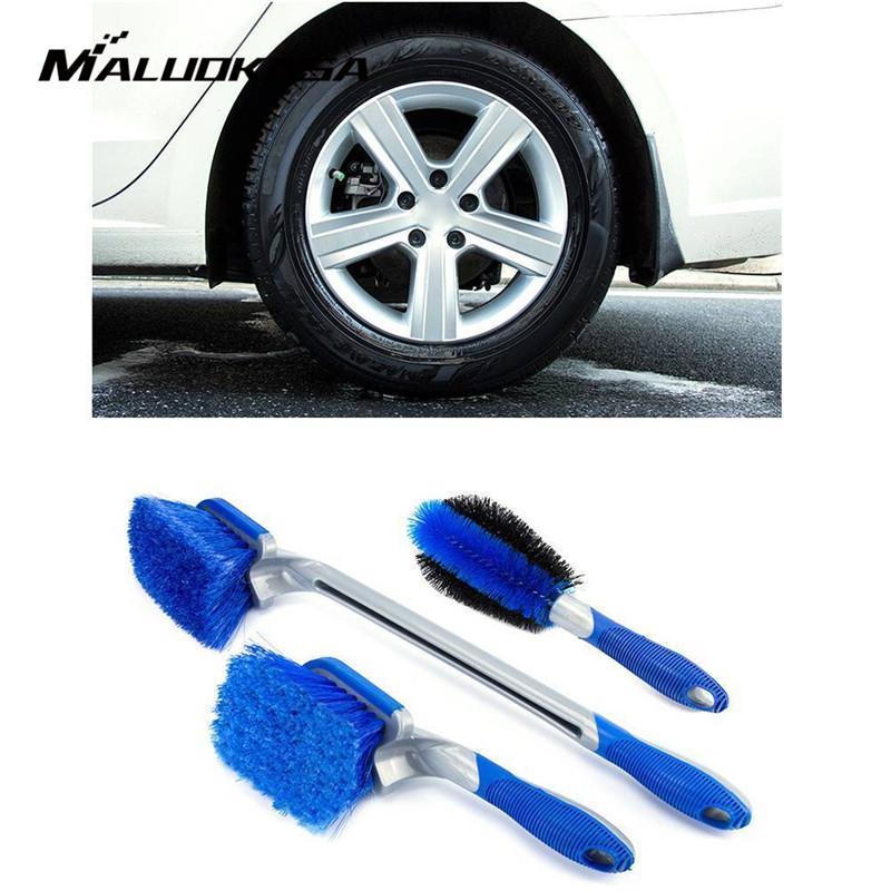 1PC Rueda Neumático Neumático de Coche Cepillo Limpiador De Lavado Cepillo Exfoliante Borde Azul herramienta de limpieza