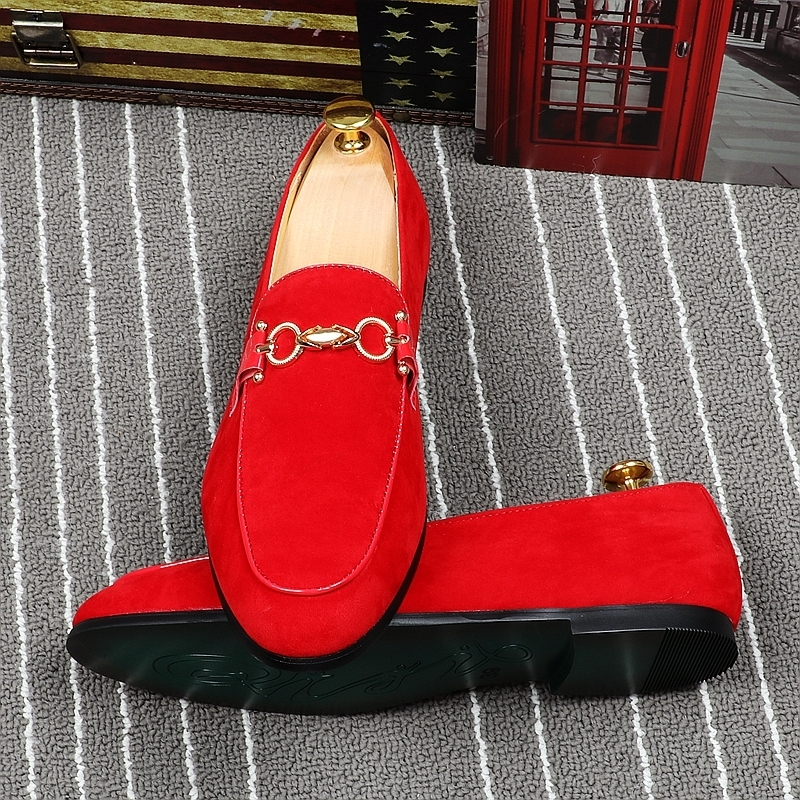 MemorableSharp Red Foot Male England Trend Hairstyle Division Small Leather Shoes Summer Ventilation Dawdler Doug Single Shoe