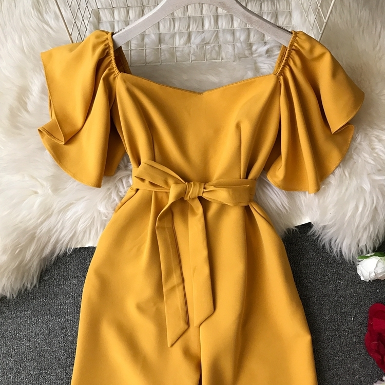Rompers Womens Jumpsuits Ankle Length Female Pants Summer Fashion Ruffles Black Blue Yellow Red Clothing Y19060501