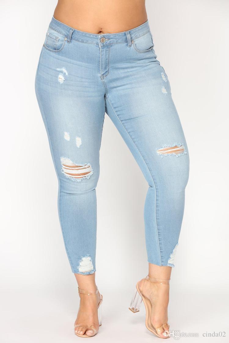 Charm2019 Mid Waist Ripped Jeans For Women Denim Distressed Knee Cut Frayed Hem Skinny Stretchy Pencil Pants