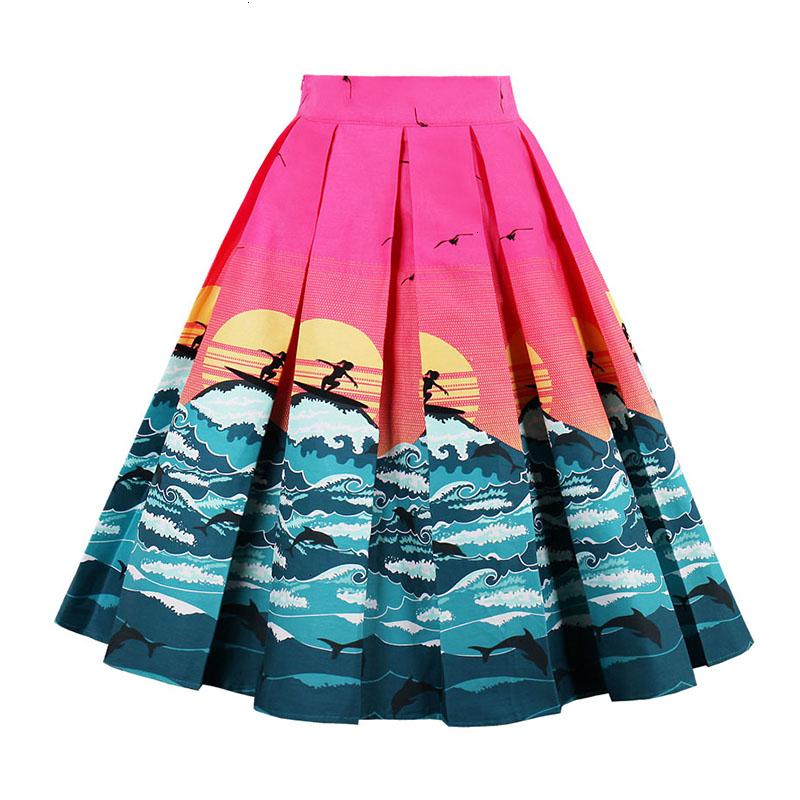 Kostlish Retro Print Flower Summer Skirts Womens High Waist Vintage Skirt Elegant A-Line Midi Women Skirt Plus Size XXL 22 (78)