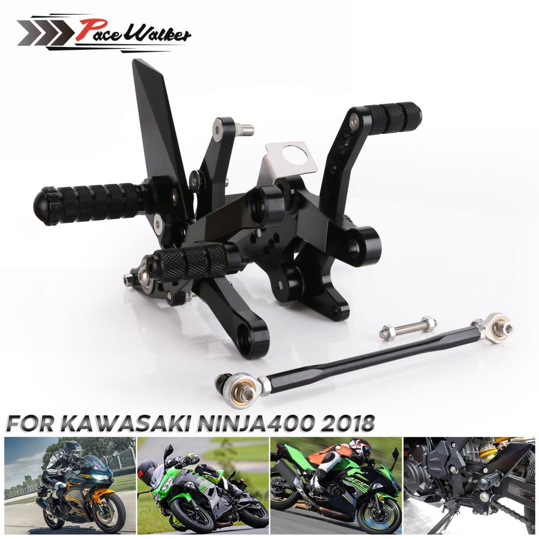 CNC Rearsets Arrière Set Pédale repose-pieds pegs Pour Kawasaki Ninja 400 2018