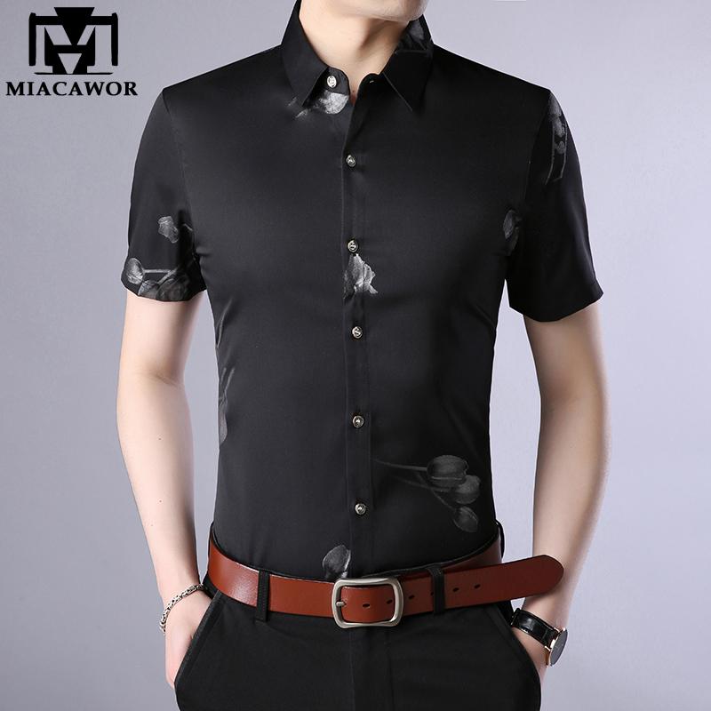 Asian-Size4,4XL QHF Mens Hawaiian Printed Shirt Men Shirts Summer Beach Casual Short Sleeve Shirt