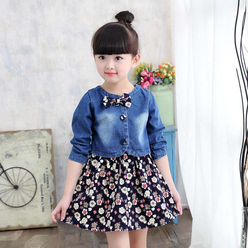 Baby Girls Clothing Spring/autumn Explosion Models Girls Suit Fashion Denim Jacket + Flower Dress Two-piece Sweet Princess DressMX190823