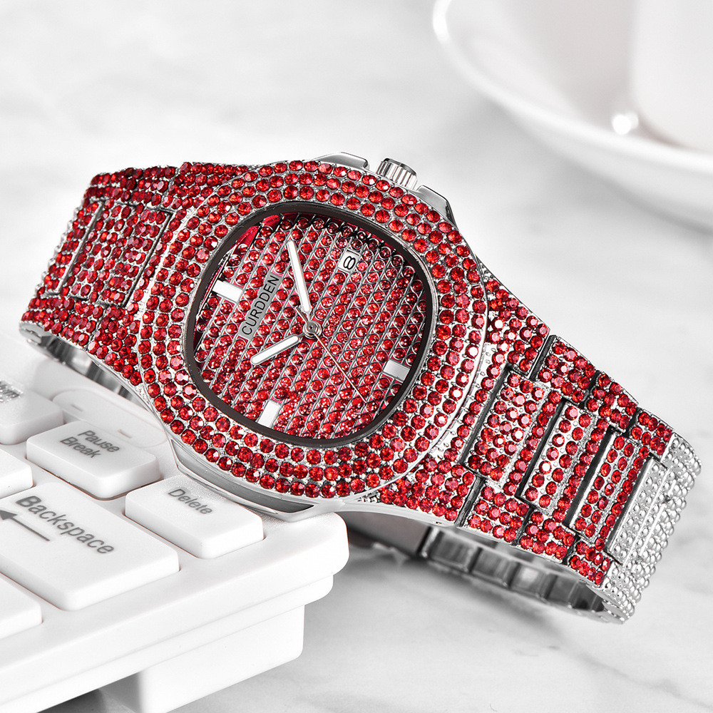 bling diamonds watches for unisex fashion women watch men business stainless steel clock hours free shipping (6)