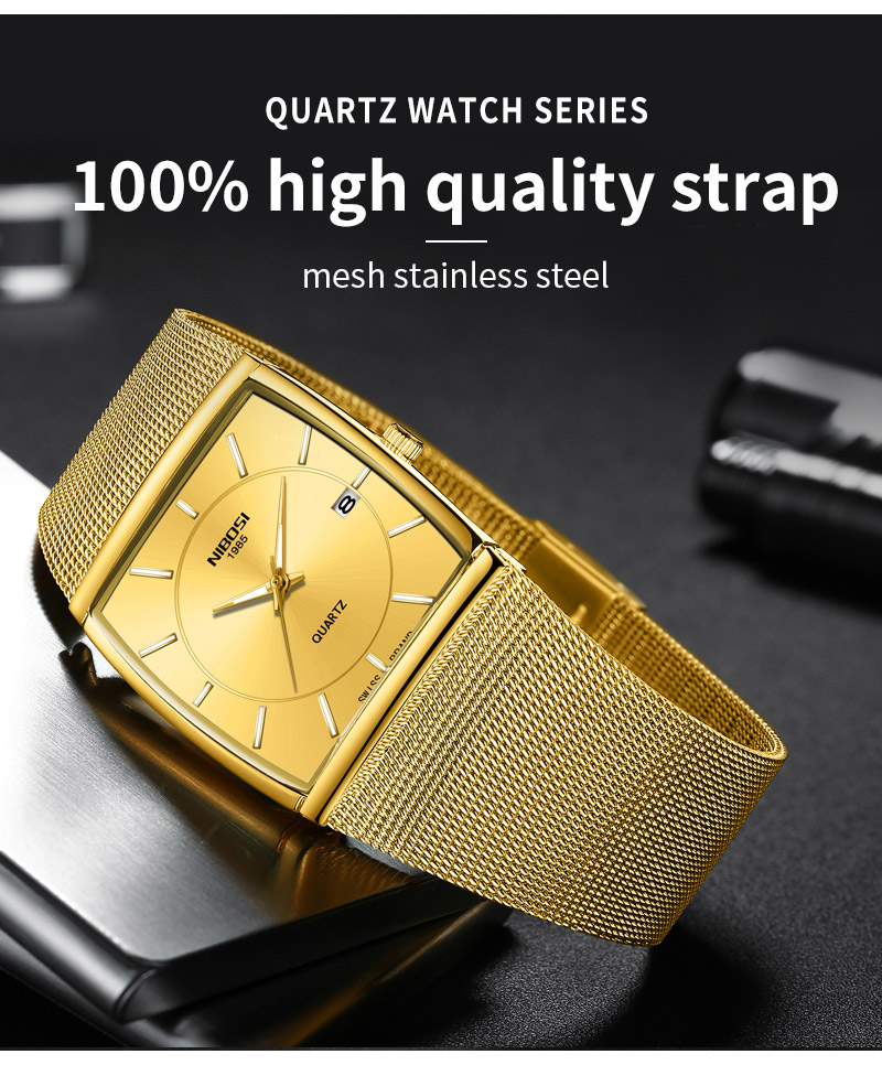 Factory Direct Sales Luxury Luminous Men`s Waterproof Watch NIBOSI Quartz European Style Unique New Square Stainless Steel Watch (11)